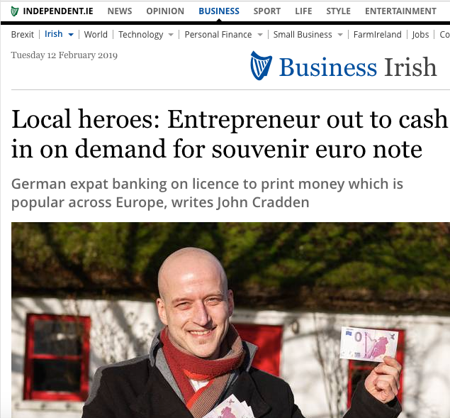 Local heroes: Entrepreneur out to cash in on demand for souvenir euro note 0 euro banknote collectors banknote