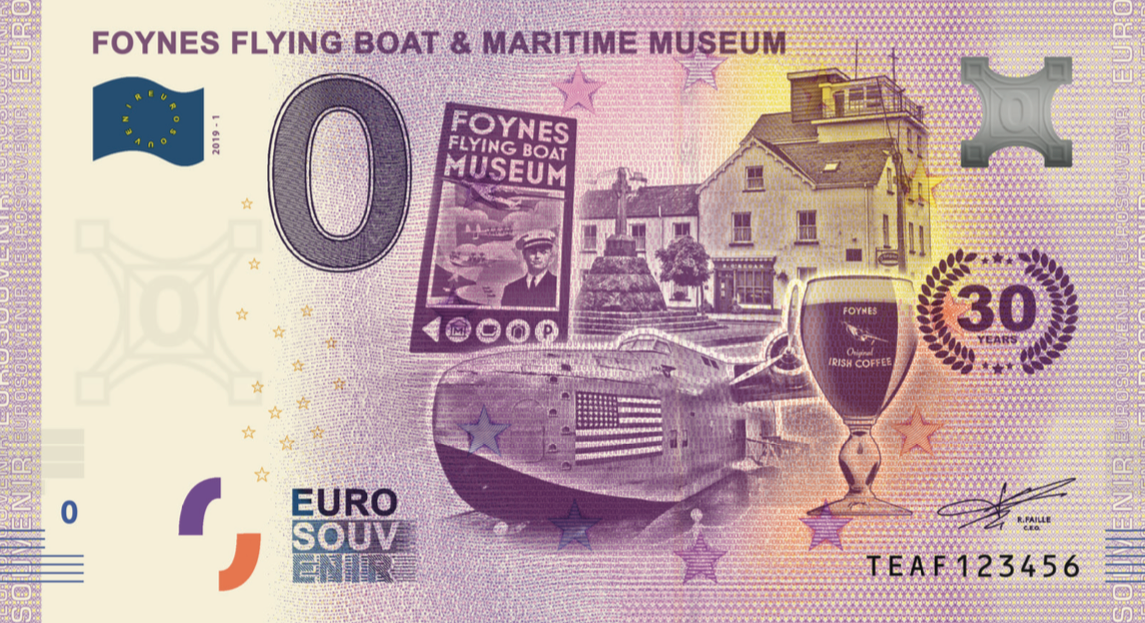 zero 0 euro souvenir banknote Ireland souvenirschein Foynes Flying Boat and Maritime Museum 30 years anniversary