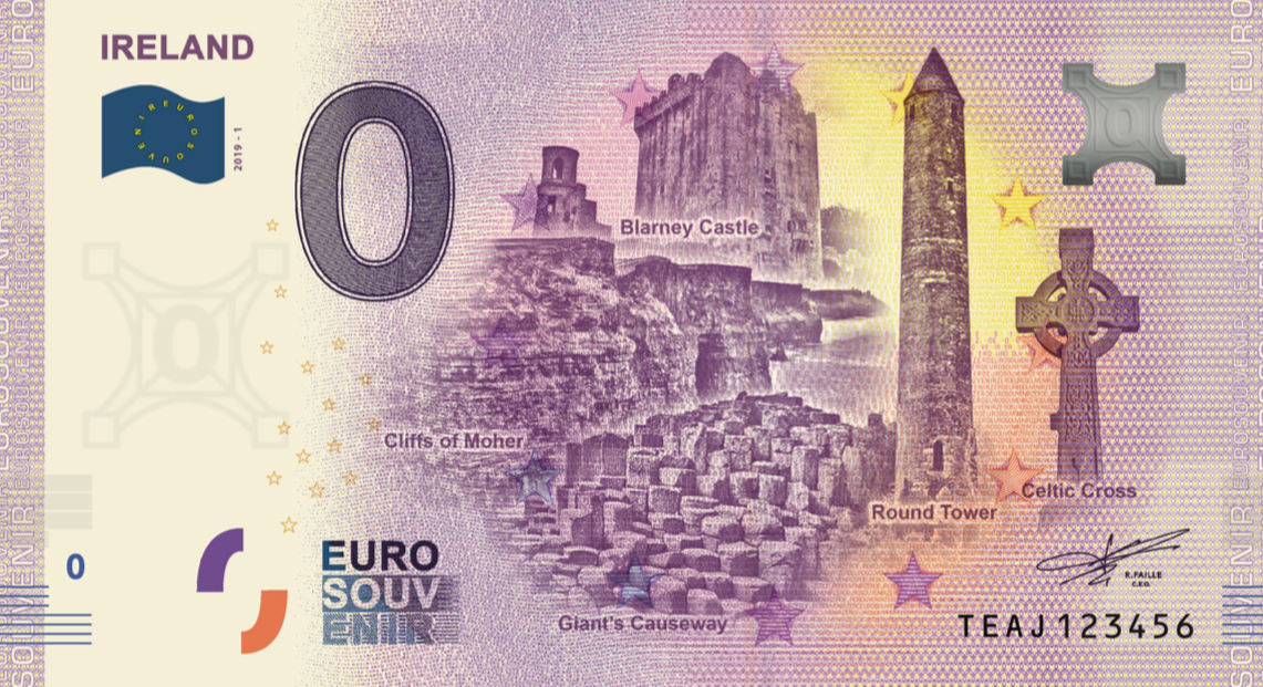 zero 0 euro souvenir banknote Ireland souvenirschein Blarney Castle Cliffs of Moher Giant's Causeway Round Tower Celtic Cross